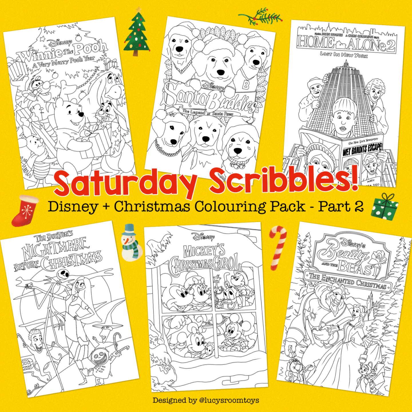 Saturday Scribbles – Disney + Christmas Colouring Pack (Part 2)